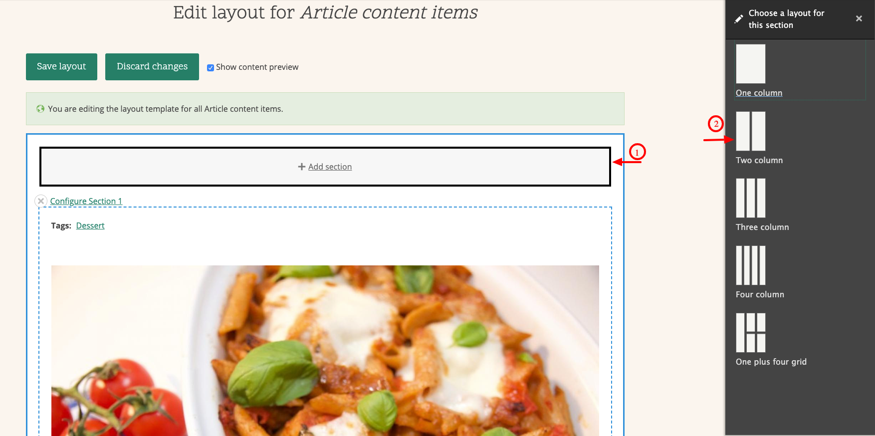 screenshot of layout builder in Drupal
