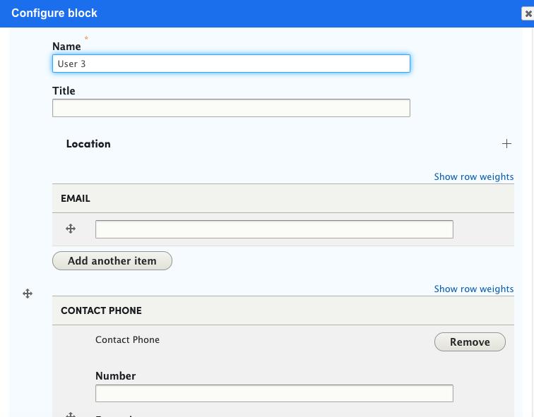 configure block details in layout modal window