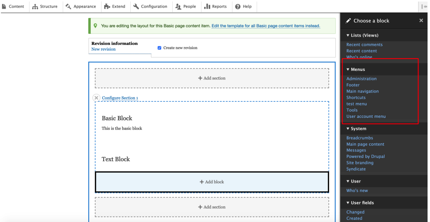 Click to add block option in Layout builder