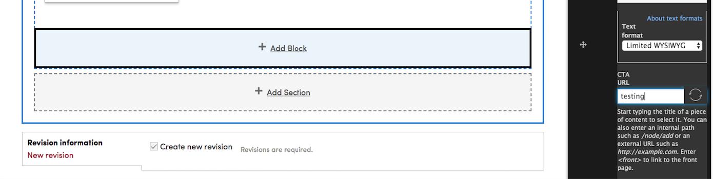 Option to add CTA field inside content-type/custom blocks