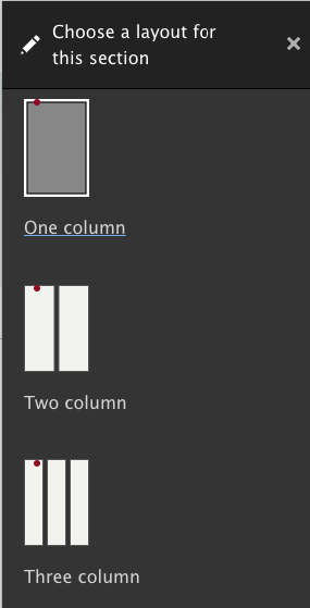 Choosing layout for the basic page in layout builder