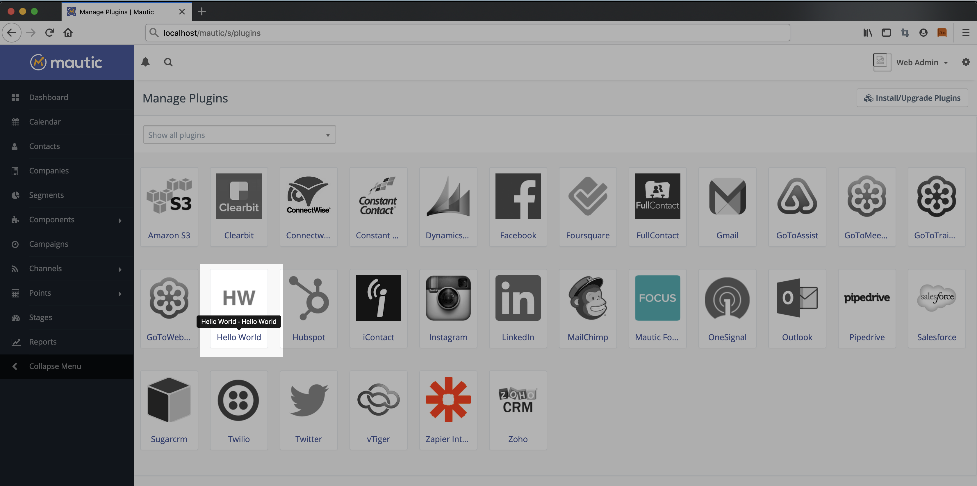 Icon of HelloWorld plugin highlighted in the listing