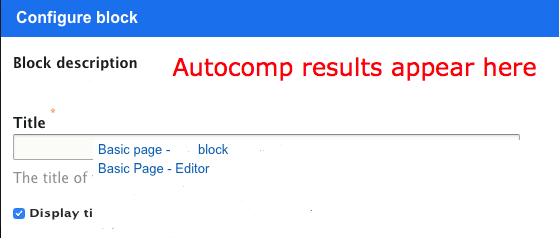 autocomp results displayed in the layout builder window