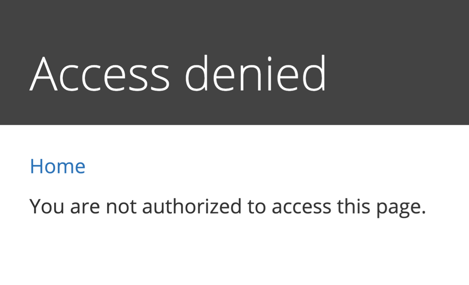 Access denied message in Drupal 8