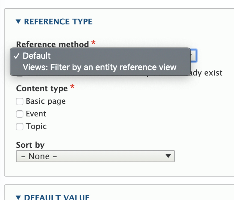 Figure 1: Entity reference field settings config for a node