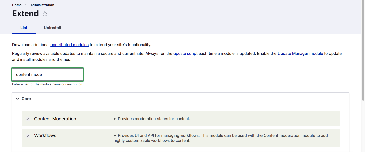 Workflow Moderation_Extend - Modules Enabled