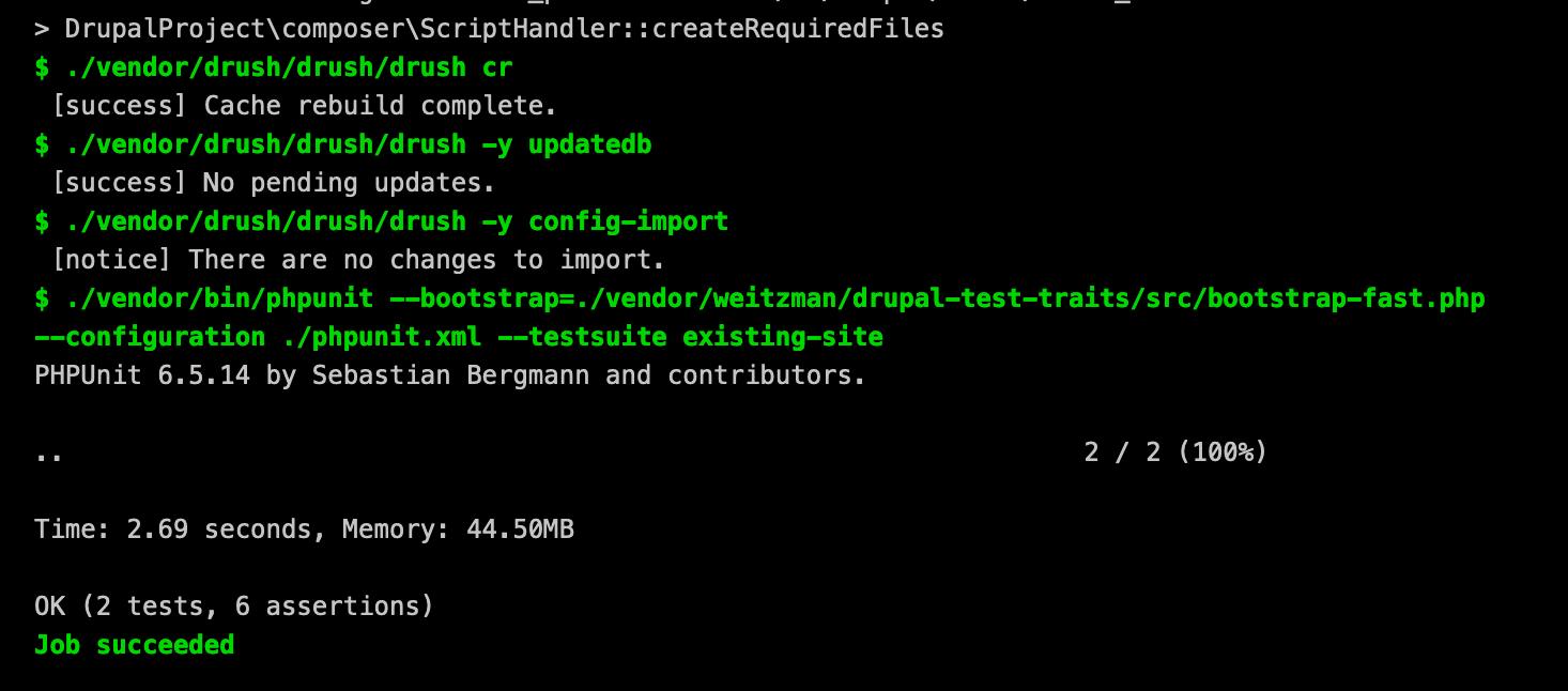 DTT CI PHPUnit Output