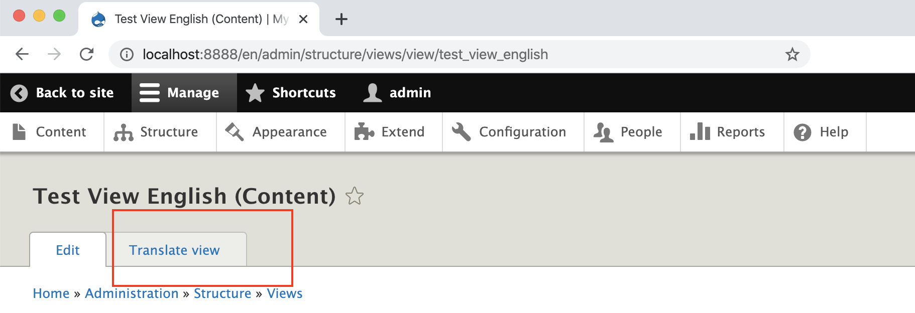 screenshot of backend for test view english content