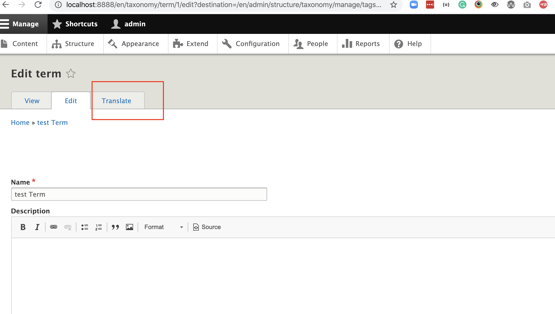 screenshot of backend to edit term