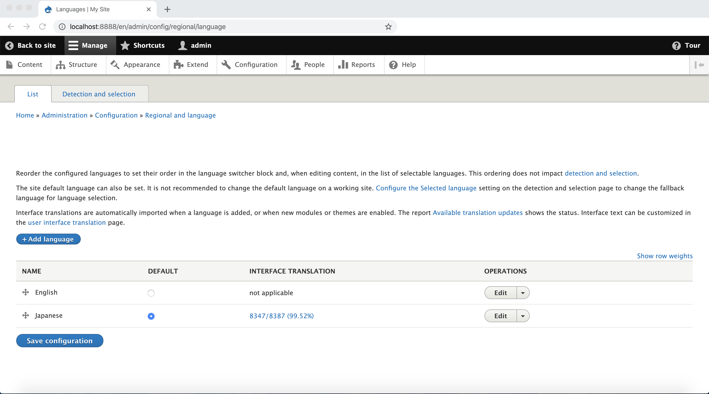 screenshot of backend for regional languages
