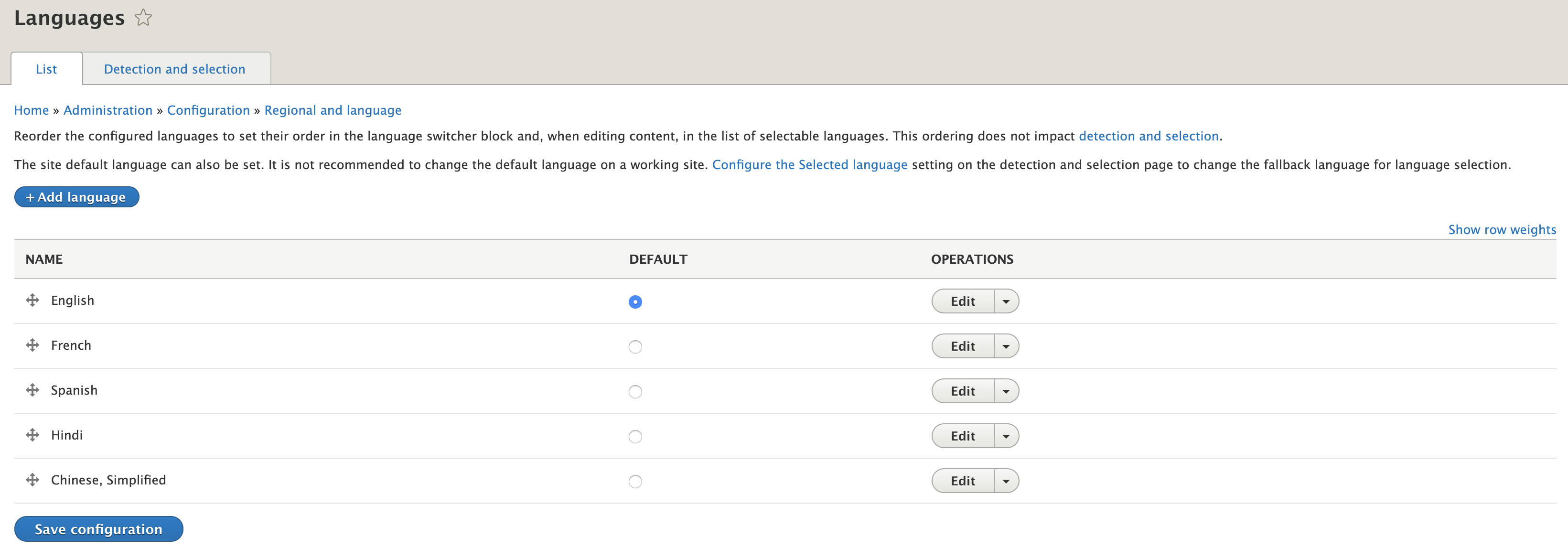 screenshot of Drupal backend for list of languages