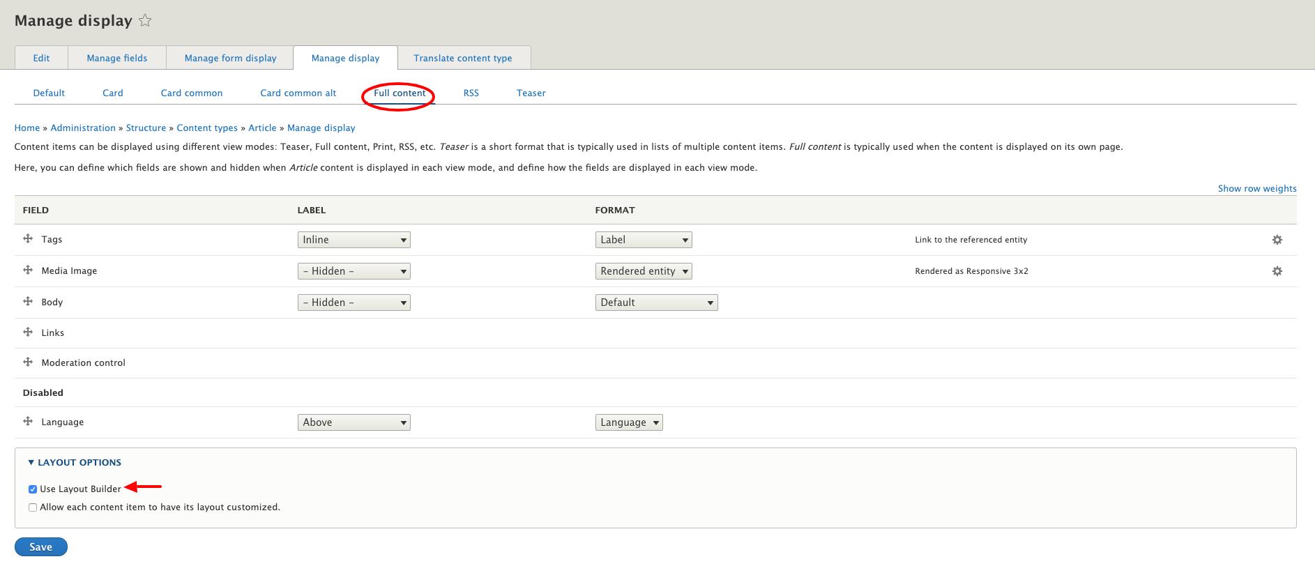 screenshot of layout builder in Drupal