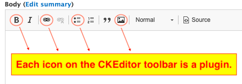 Icons on the CKEditor toolbar as plugin highlighted with arrows