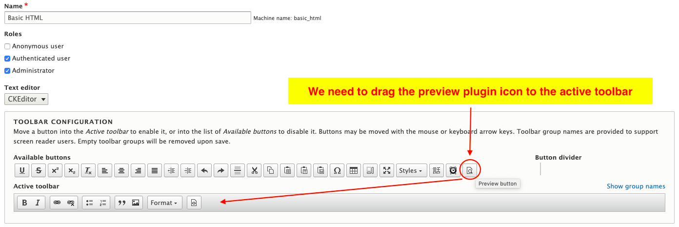 view of the CKEditor highlighting the preview plugin icon