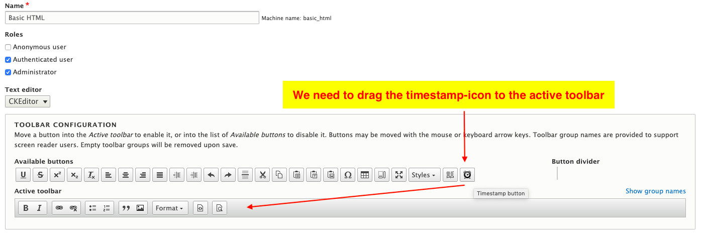 we need to drag the timestamp to the active toolbar