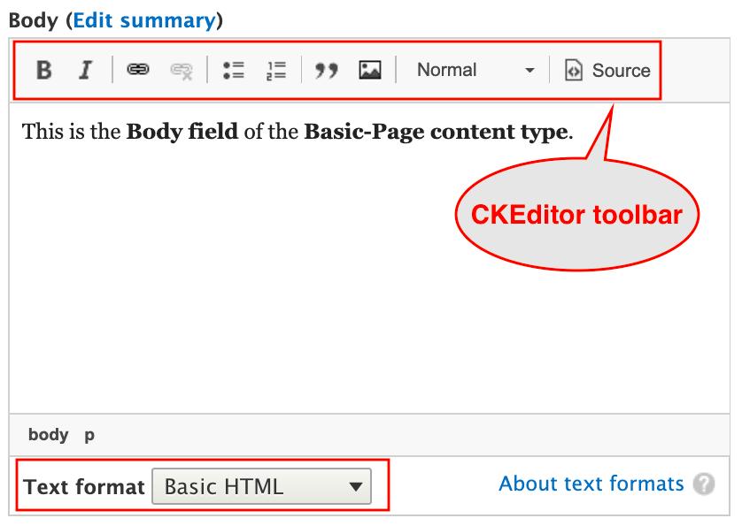 Highlighed CKEditor toolbar in Basic HTML