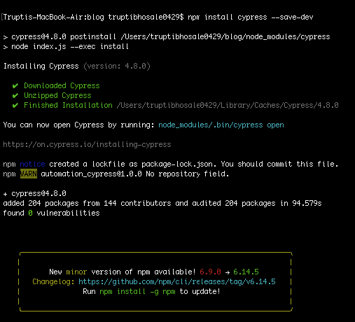 lines of code for installing cypress