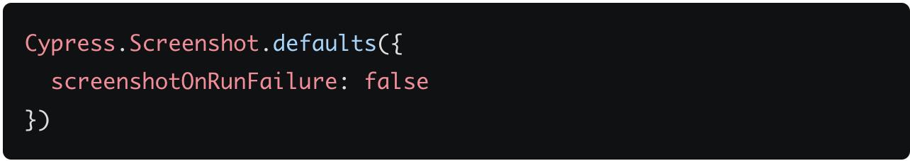 screenshotonrunfailure code