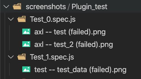 "cypress captures screenshots and creates a folder ""screenshots"" for failed execution"