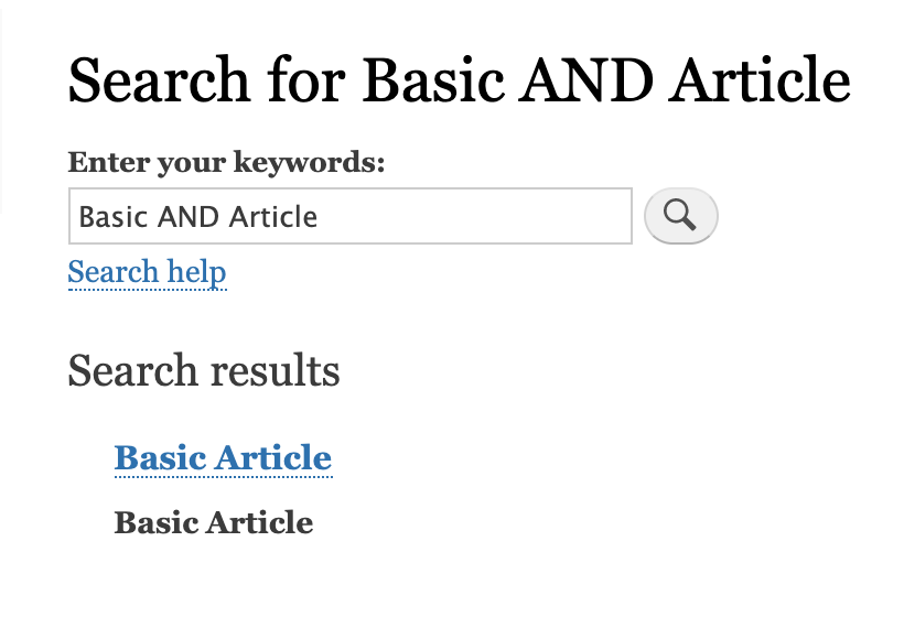 Search for basic AND Article