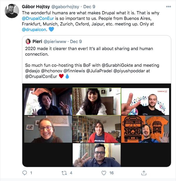Gábor Hojtsy retweets Pierina's tweet