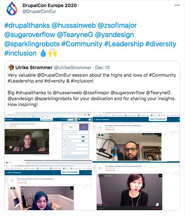 A tweet from DrupalCon Europe 2020