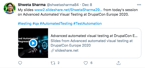 A tweet from Shweta Sharma about her session at DrupalCon Europe 2020