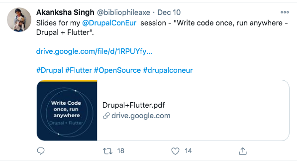 A tweet from Akansha about her session at DrupalCon Europe 2020