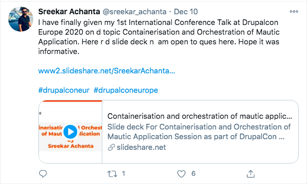 A tweet from Sreekar about her session at DrupalCon Europe 2020