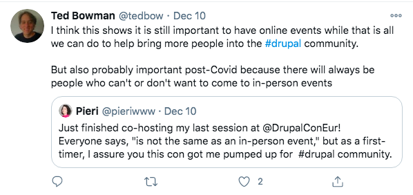 Ted Bowman retweets Pierina's tweet on Co-hosting DrupalCon Europe 2020