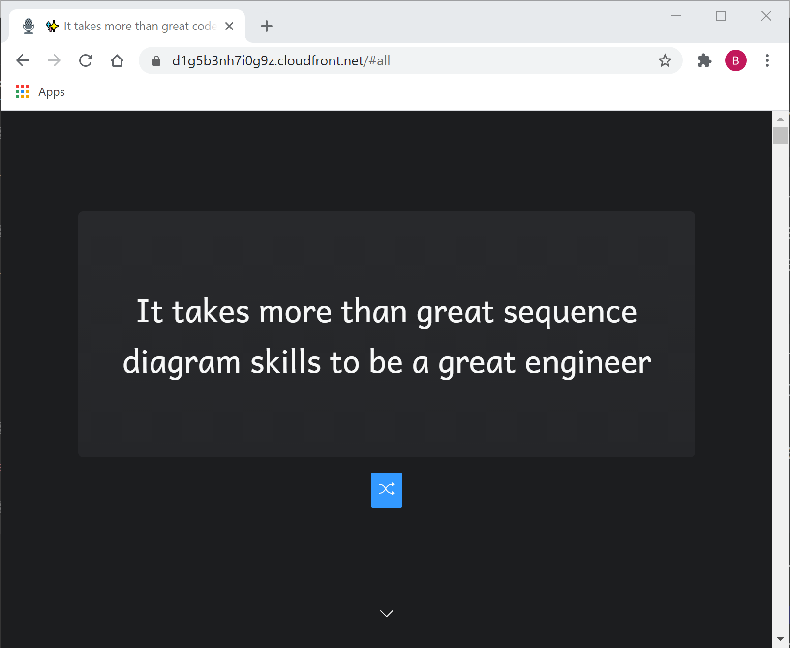 a tab showing text in white over black screen