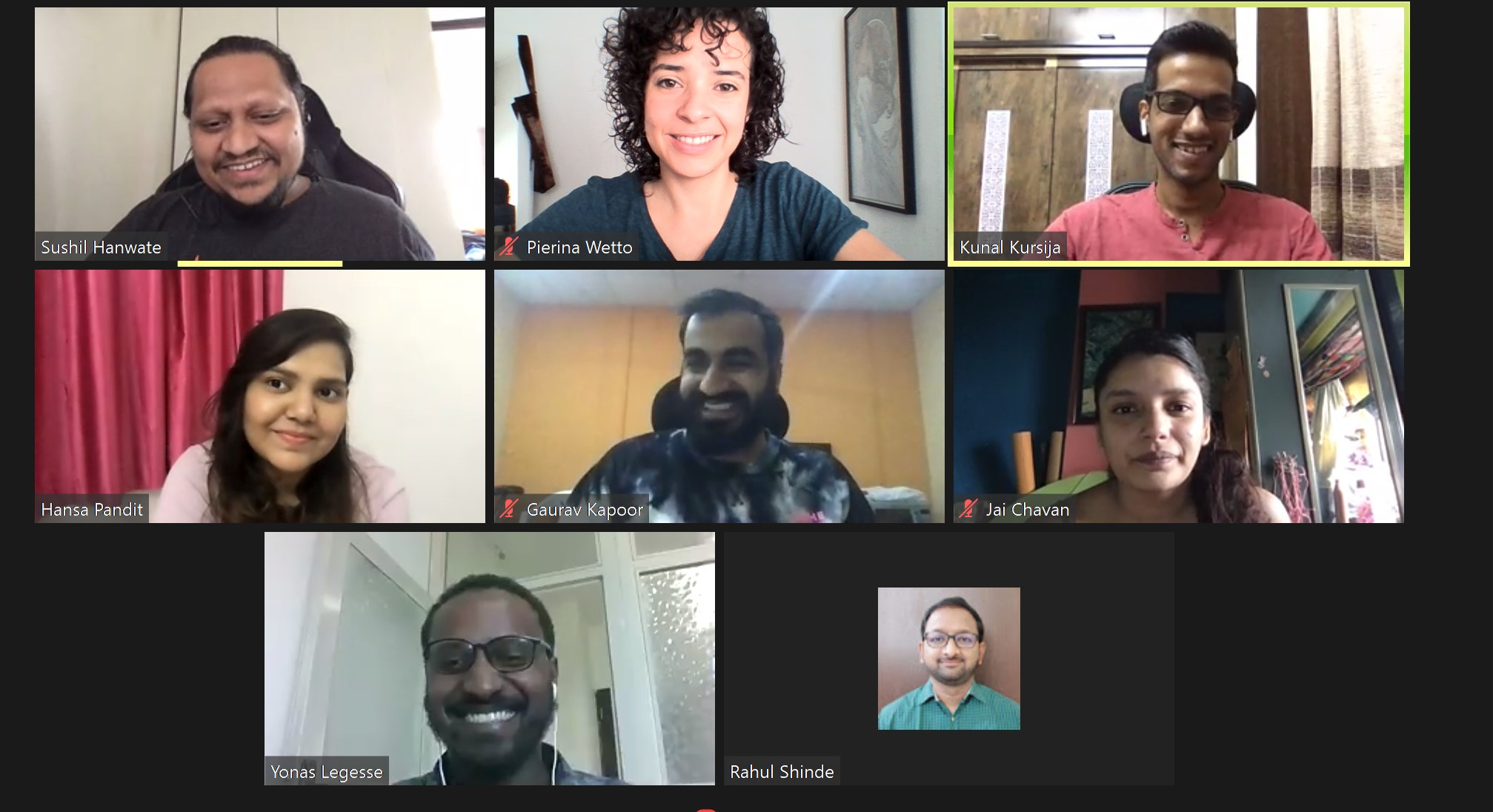 screenshot of Axelerant team's zoom meeting