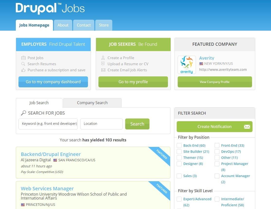 Drupal Jobs Homepage screenshot