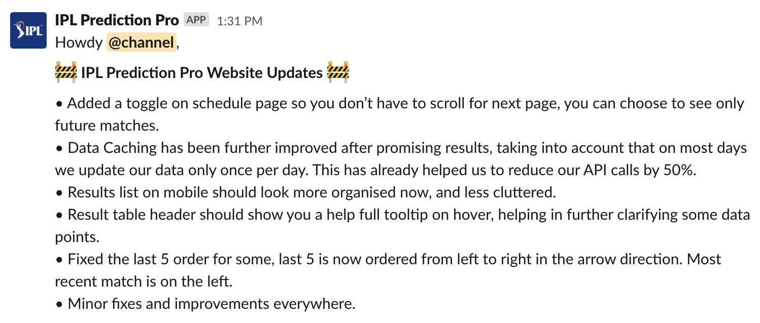 Update message from the Slack Bot